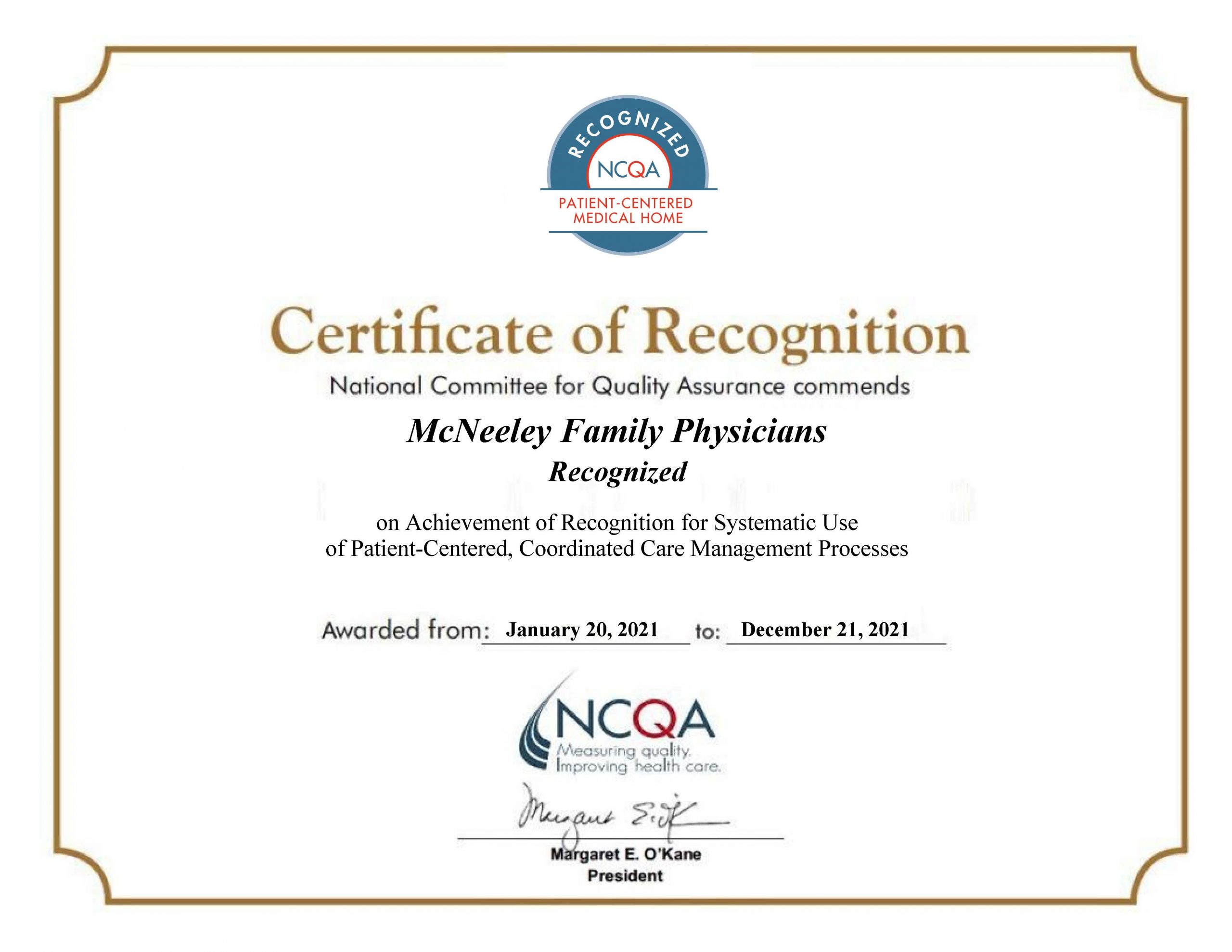 McNeeley Family Physicians Recognized as PCMH